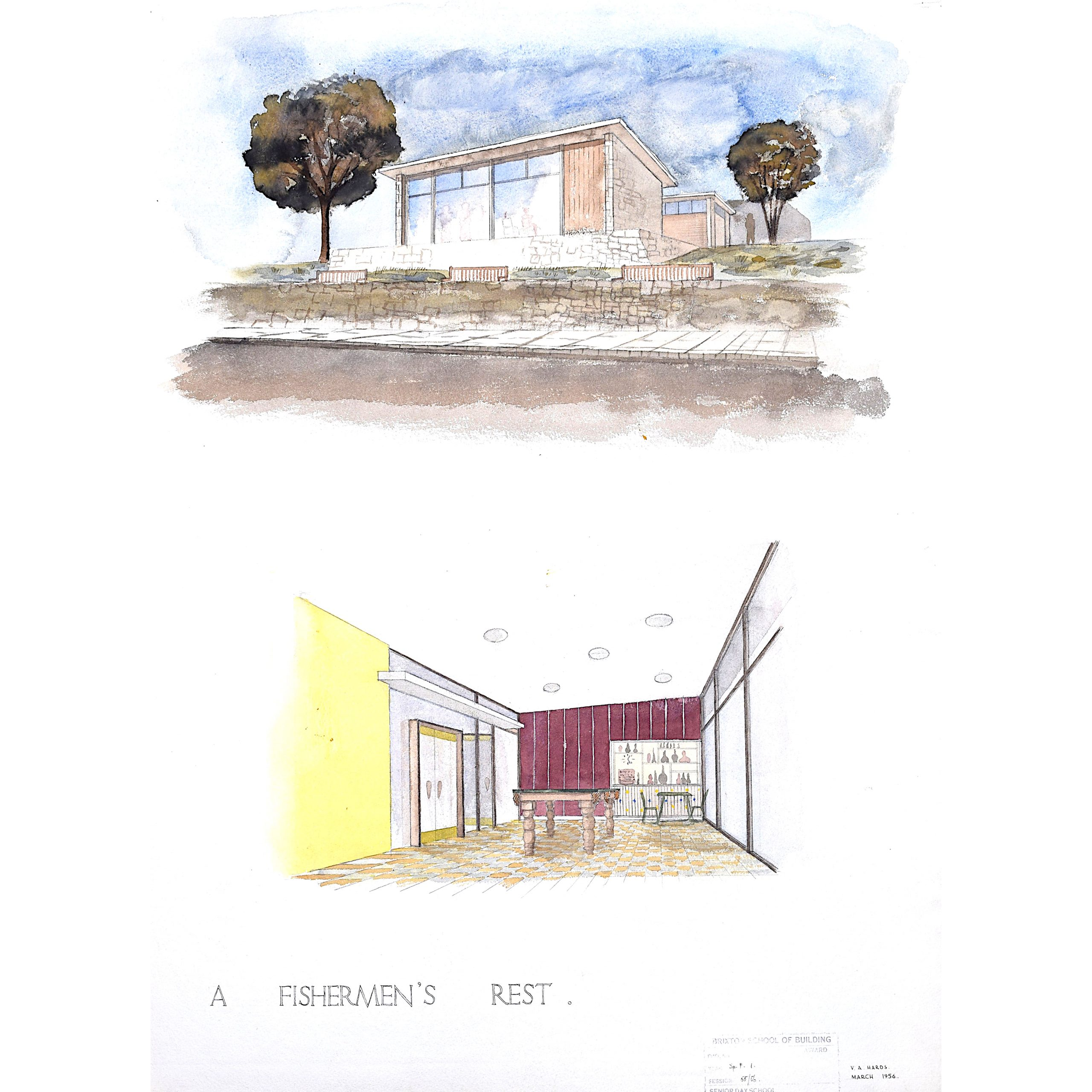 Modernist Fisherman's Hut architectural drawing design