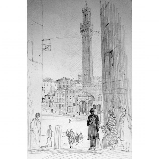 Christopher Hughes: View of Siena, Italy - 1930s English drawing Tuscany Tour
