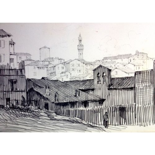 Christopher Hughes: View of Siena - 1930s drawing