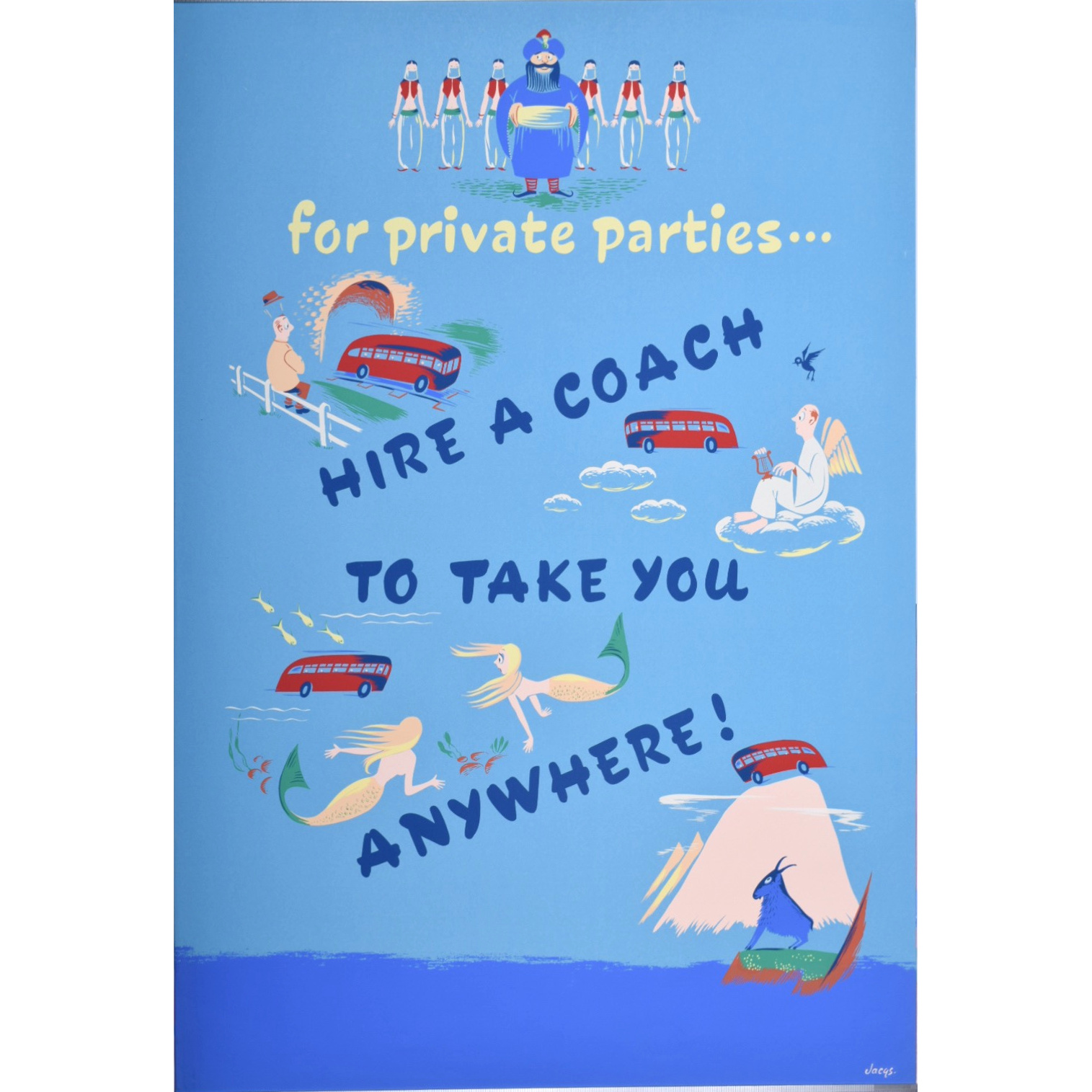 For Private Parties... Hire a Coach Vintage British - English Travel Poster