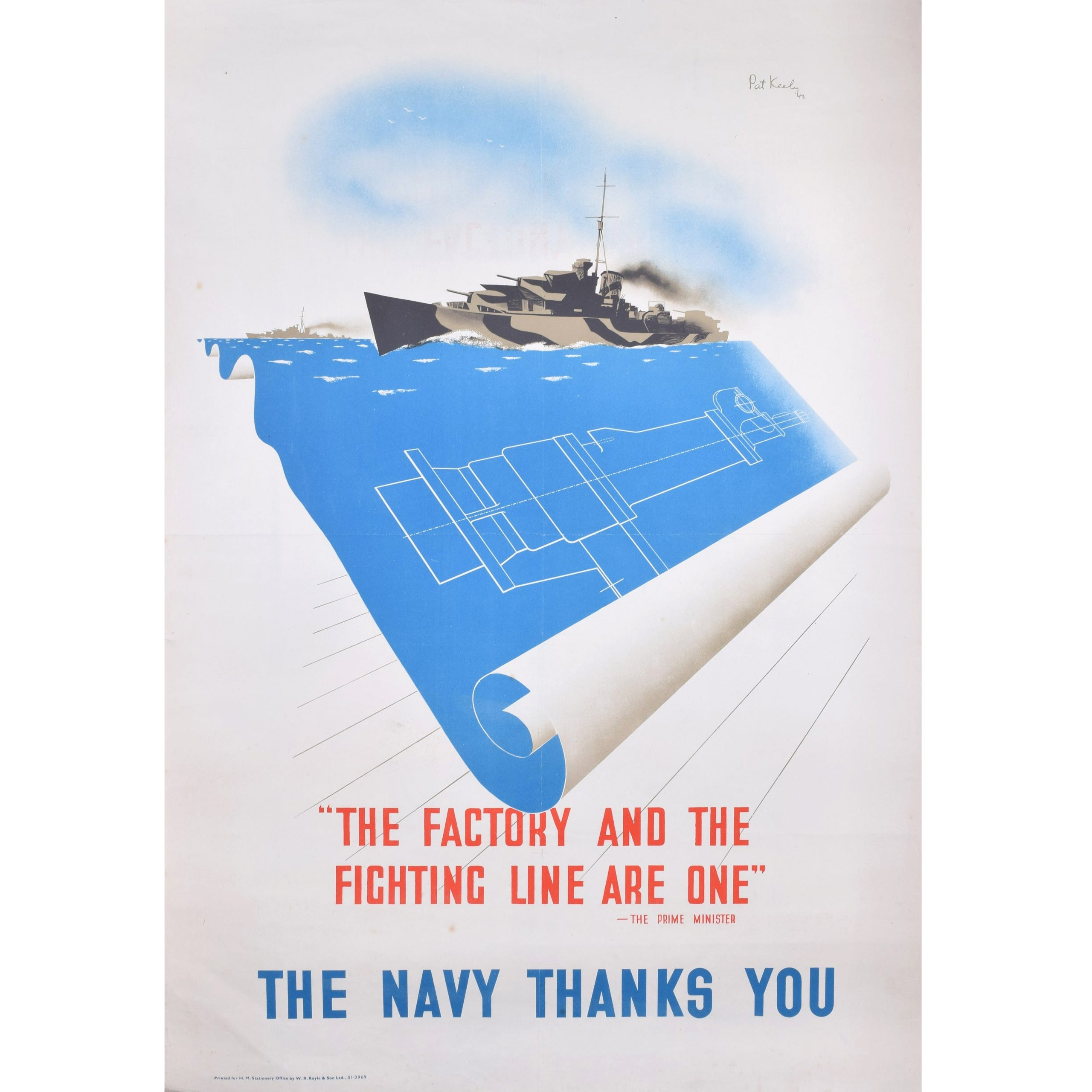 Pat Keely World War Two Royal Navy Poster - The Navy Thanks You