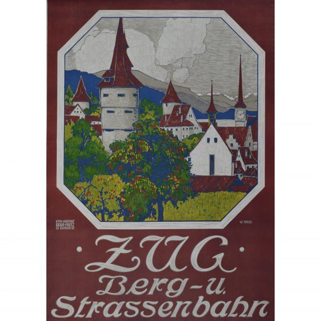 Original 1914 Ski Poster Zug Berg-u-Strassenbahn, Austria: Walther Koch - Skiing