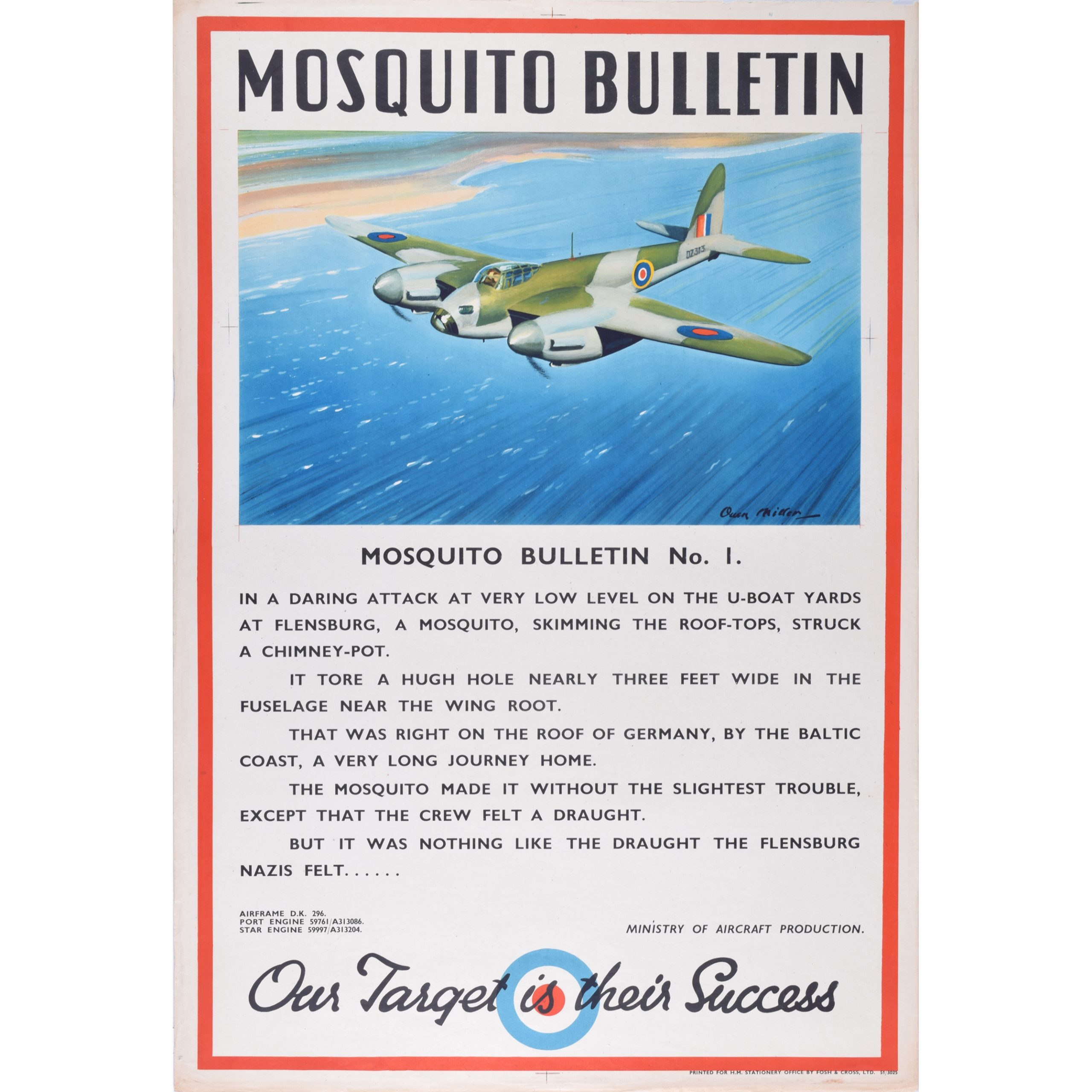 Mosquito Fighter Bomber WW2 Aeroplane Bulletin Owen Miller