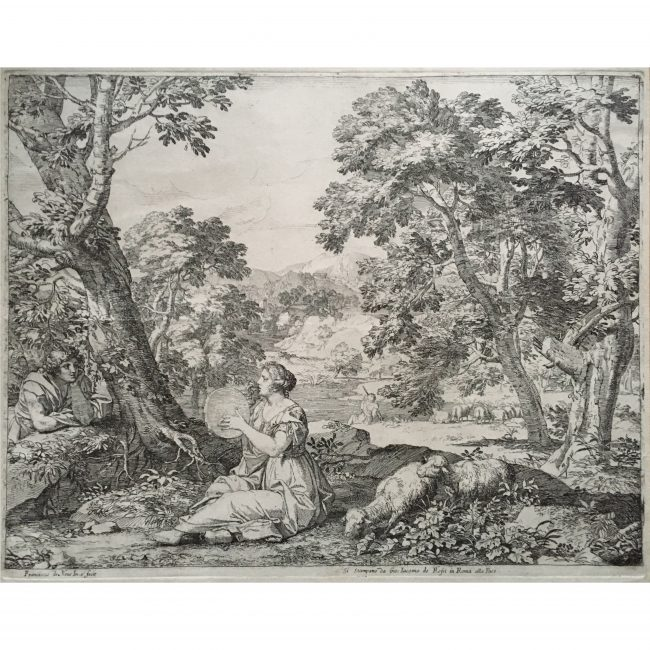 Pair of engravings: Landscape with Shepherdess/Echo & Narcissus