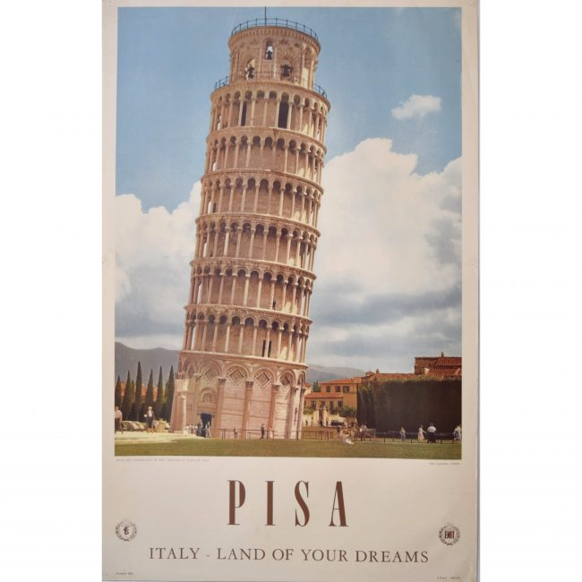 Leaning Tower of Pisa: Italy original vintage poster 1958 - Land of Your Dreams