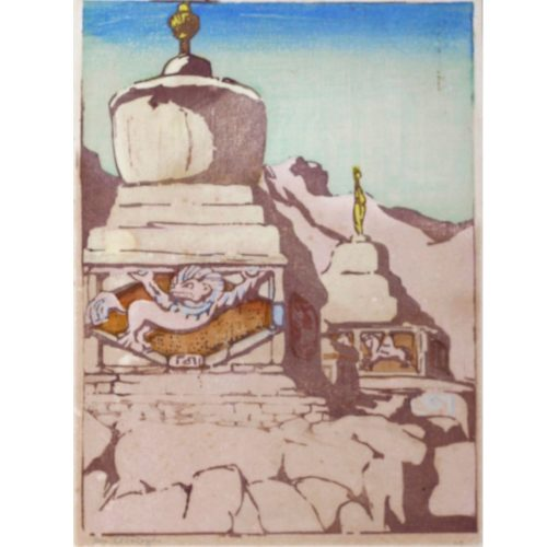 Mabel A. Royds Chortens Ladakh Woodblock print c1920