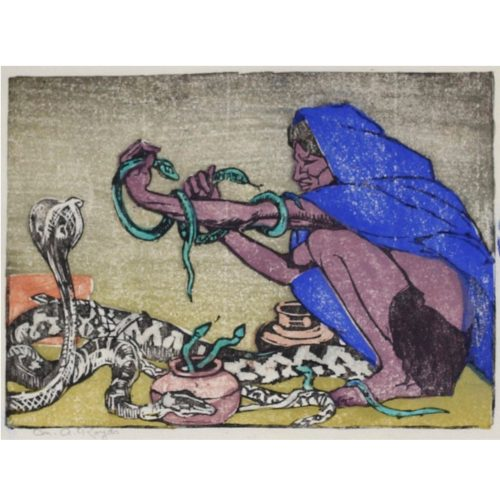 Mabel A. Royds The Snake Charmer Woodblock print c.1920
