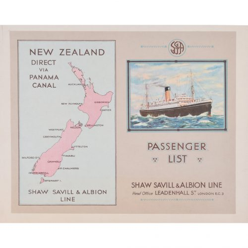 Shaw Savill Line by A E Agar brochure Ocean Liners c1940s New Zealand via Panama