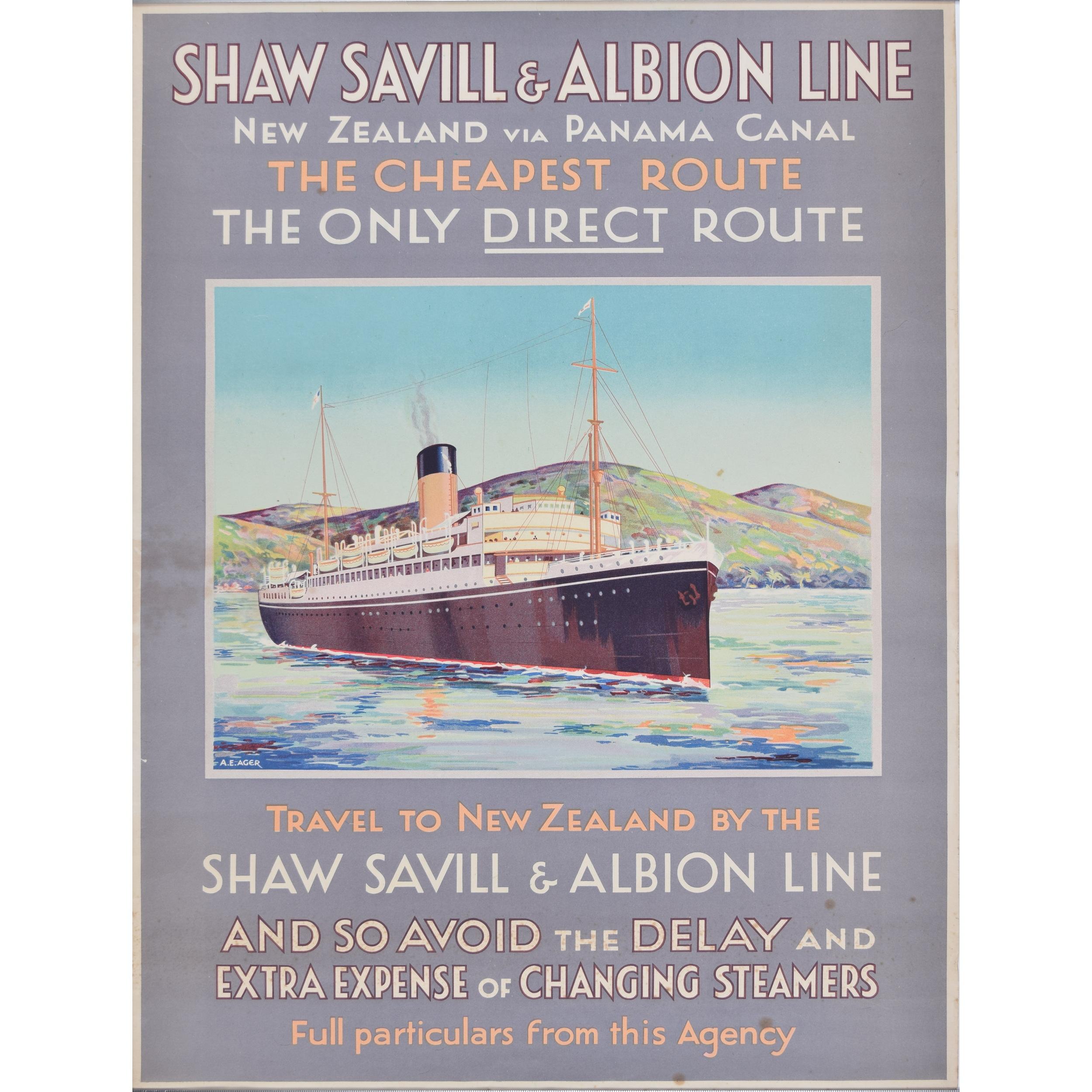 Shaw Savill Line by A E Agar poster Ocean Liners c1940s New Zealand via Panama