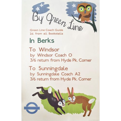 1936 Original London Transport Poster Betty Swanwick Green Line to Berkshire UK