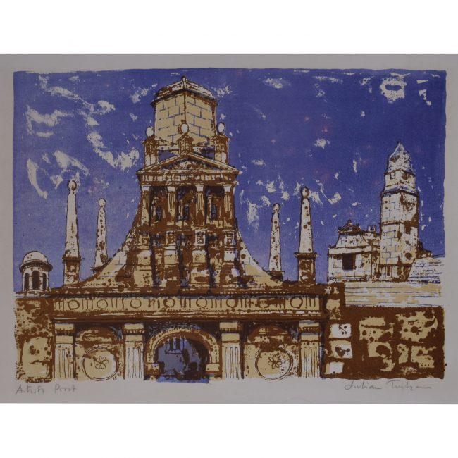 Caius College Cambridge: Julian Trevelyan - lithograph Modern British Art