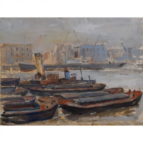 Pool of London Ron Whittenbury Modern British Art Oil Painting Thames Shipping