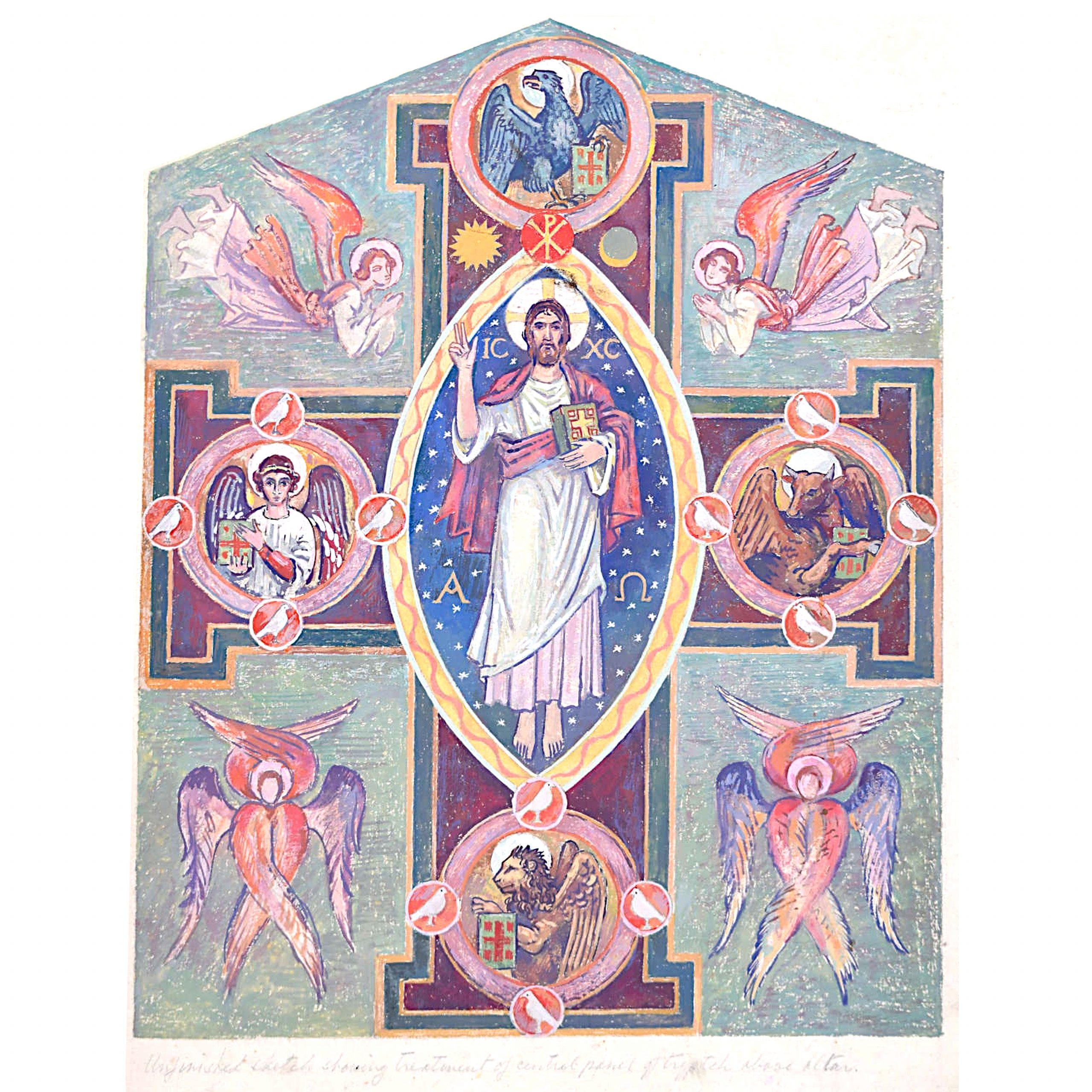 Edwardian Ecclesiastical Design for Triptych above Altar Gouache Arts and Crafts