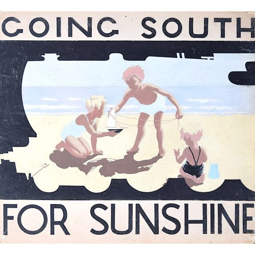 1930s Original Gouache Design for Railway Poster Going South for Sunshine Beach