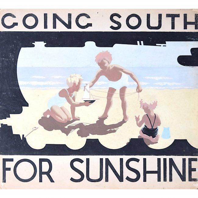 1930s Original Gouache Design for Railway Poster Going South for Sunshine Beach
