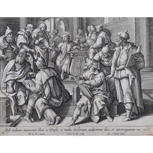 Adrian Collaert Martin de Vos Jesus in the Temple with the Teachers