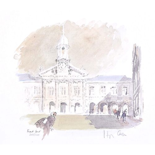 Hugh Casson Emmanuel College Cambridge Front Court limited edition print