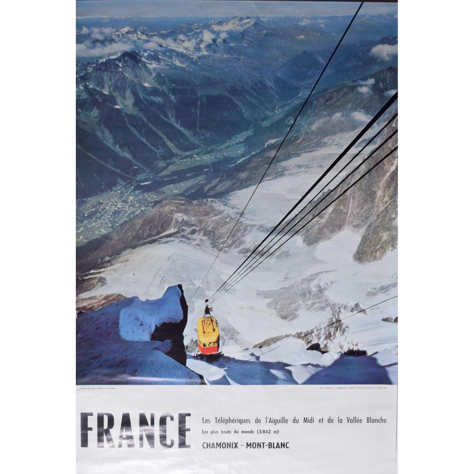 Chamonix Vallée Blanche French skiing poster Télépheriques de l'Aiguille