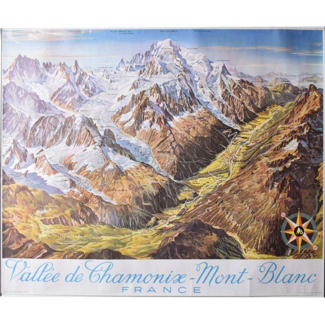 Chamonix Vallée Blanche French skiing poster L Koller