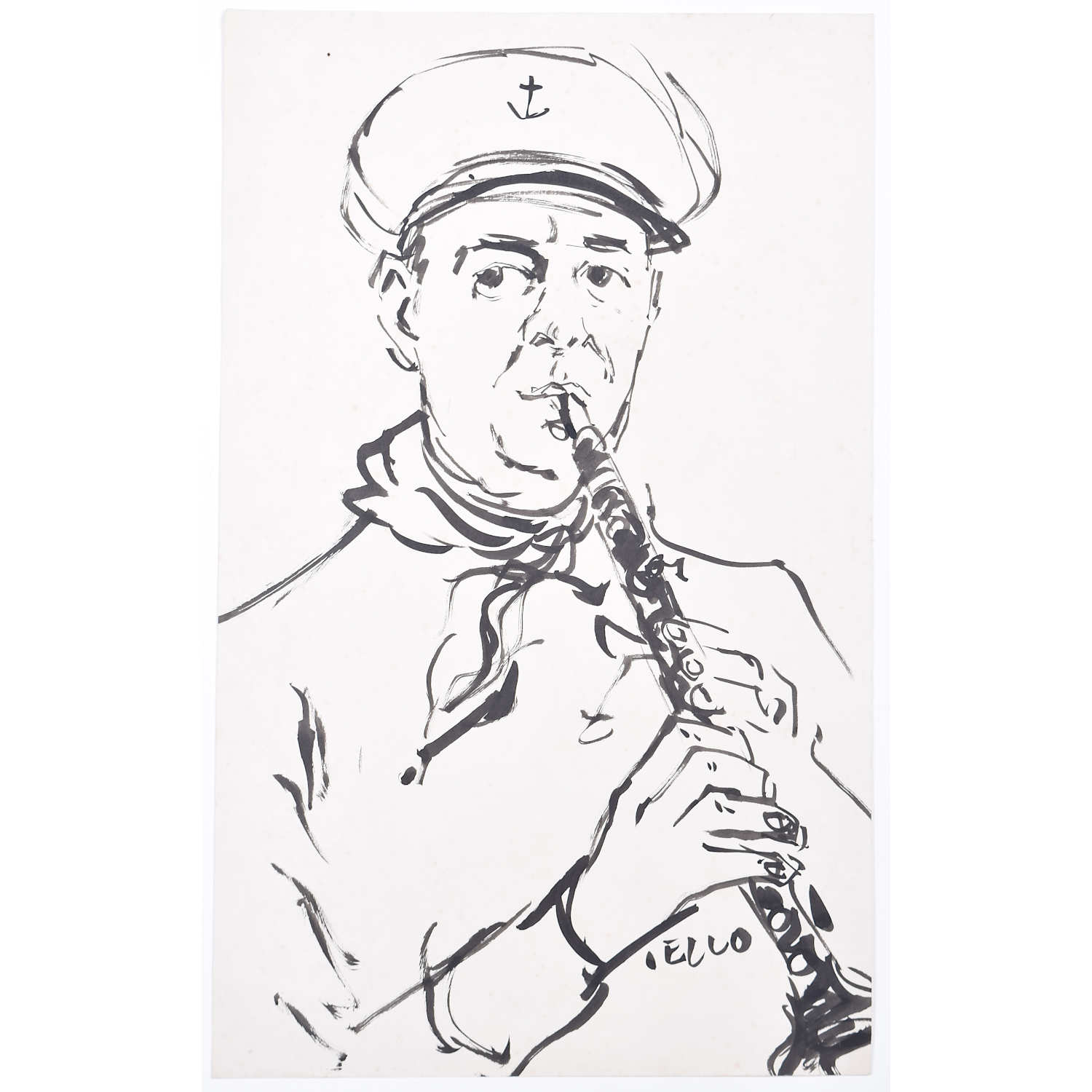 Peter Collins Royal Navy Bandsman ARCA Pen and Ink Sketch
