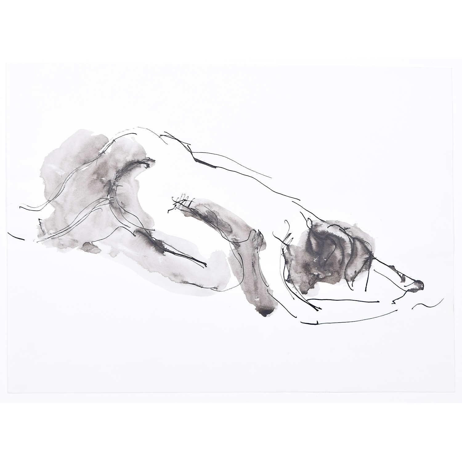 Nude: Peter Collins ARCA pen and ink sketch with wash Modern British Art