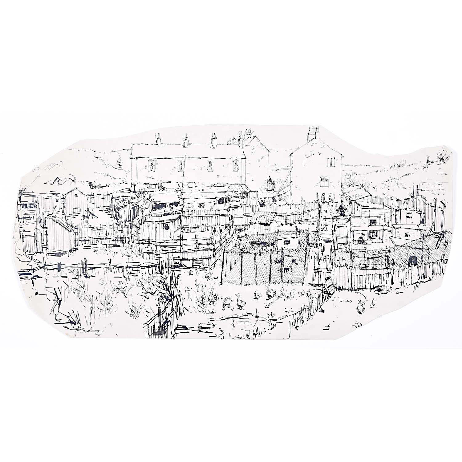Town Scene: Peter Collins ARCA pen and ink sketch Modern British Art