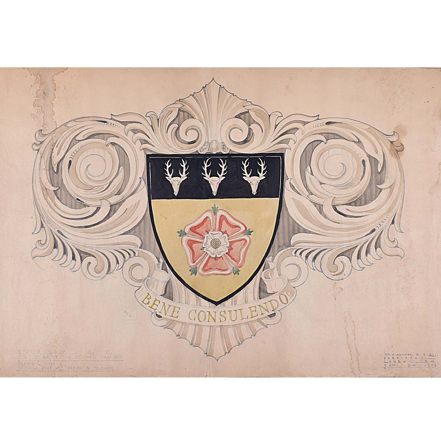 D.L Hadden Design for Coat of Arms for Council Chambers 1956