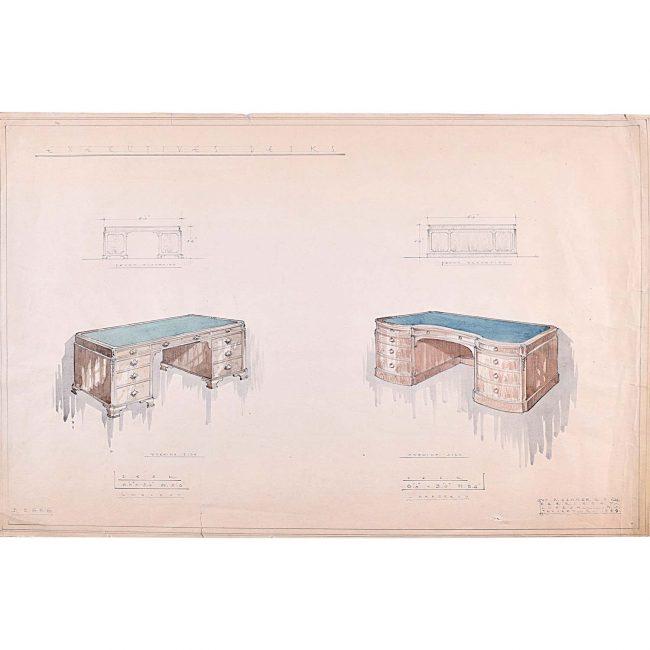 D.L Hadden Design for Executive Desks Geo.M.Hammer 1959