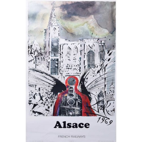 Salvador Dali Alsace Original French Travel Poster SNCF Railway 1969