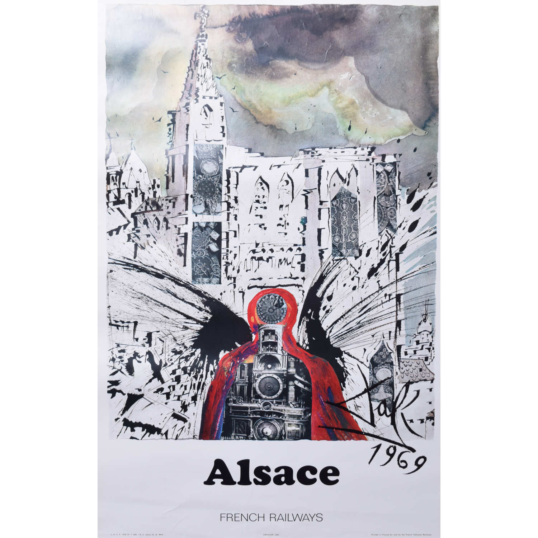 Salvador Dali Alsace Original French Travel Poster SNCF Railway 1969