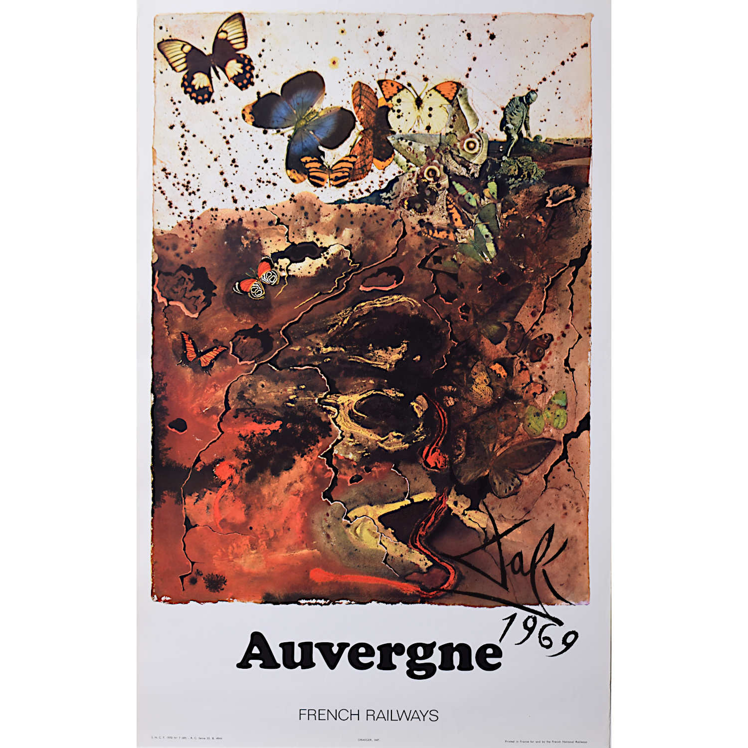 Salvador Dali Auvergne original French travel poster SNCF Railway 1969