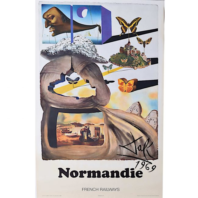 Salvador Dali Normandy Normandie original French travel poster SNCF Railway 1969