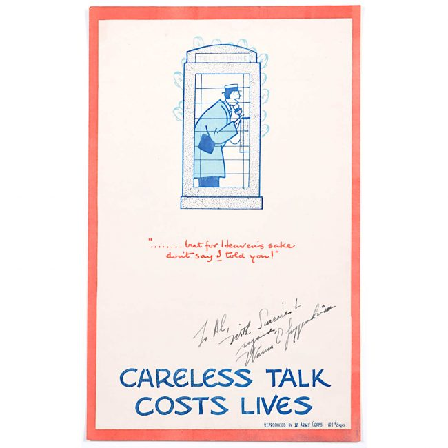 Careless Talk Costs Lives VII 'Fougasse' IV Army Corps Edition Poster