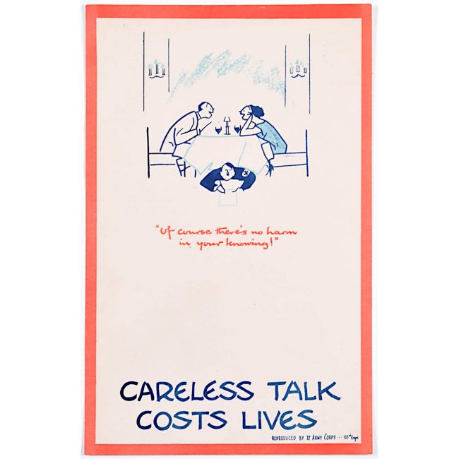 Careless Talk Costs Lives 'Fougasse' IV Army Corps Edition World War 2 Poster