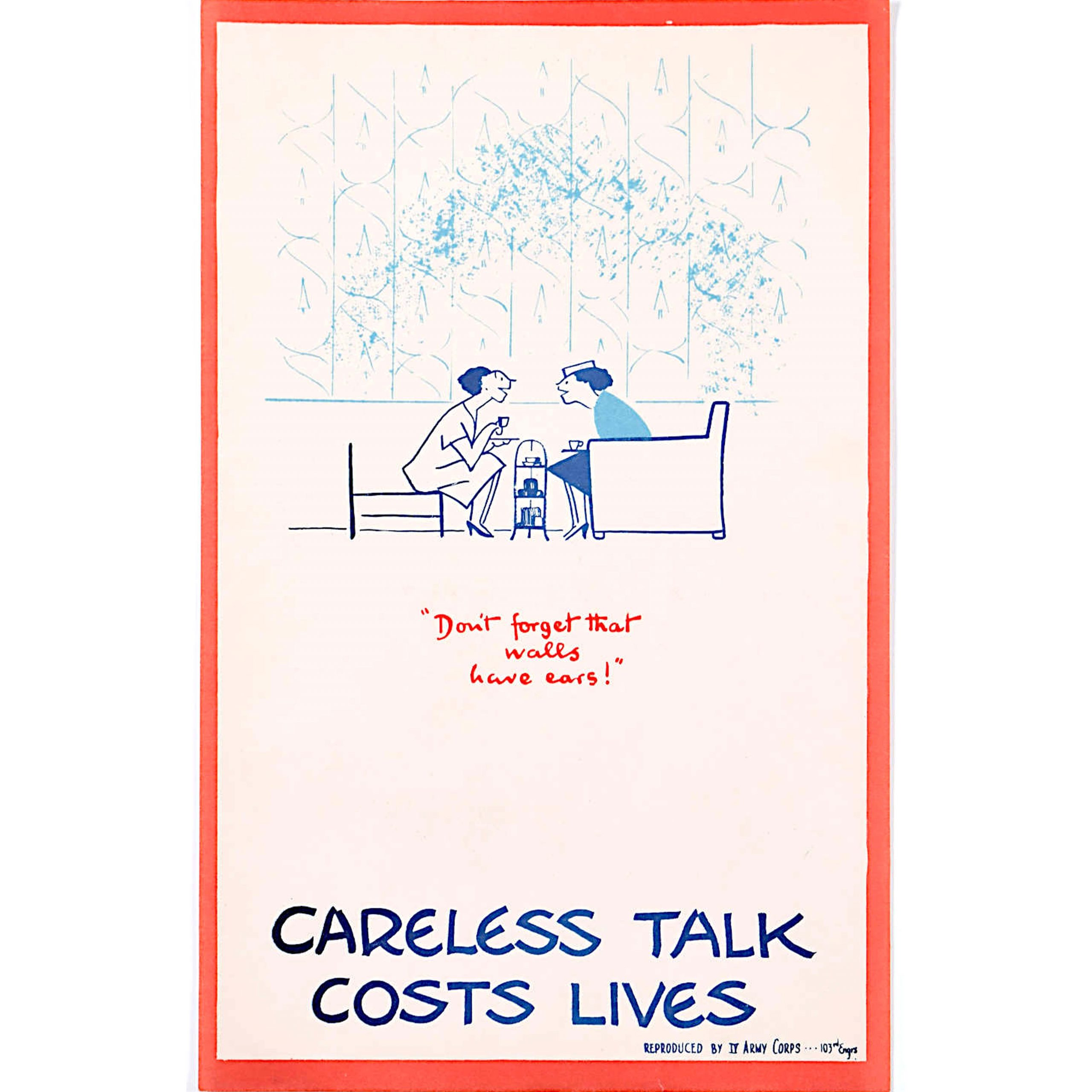 Careless Talk Costs Lives 'Fougasse' III Army Corps Edition World War 2 Poster