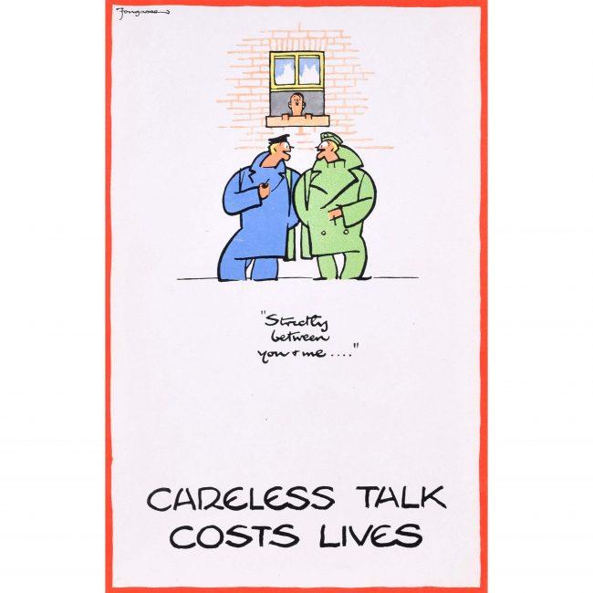 Careless Talk Costs Lives 'Fougasse' Cyril Kenneth Bird World War 2 Poster