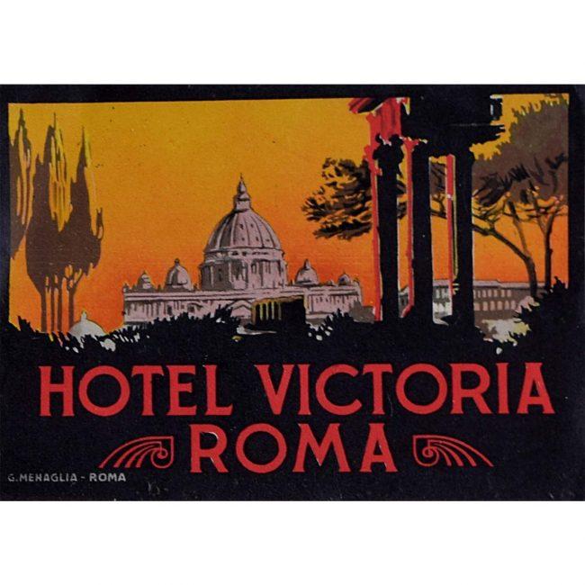 Hotel Victoria Roma Original Vintage Luggage Label