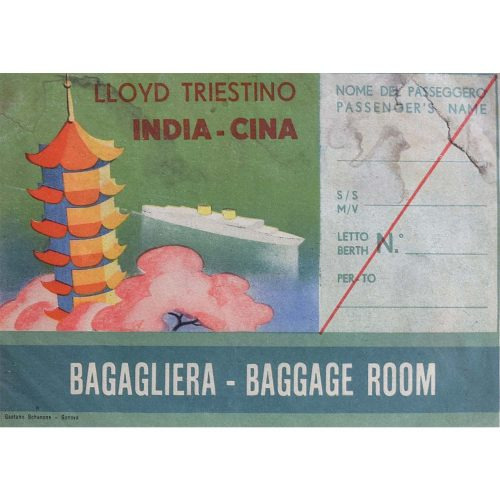 Lloyd India to China Baggage Room Original Printed Luggage Label