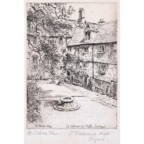 Mabel Oliver Rae St Edmund Hall Oxford etching c. 1920