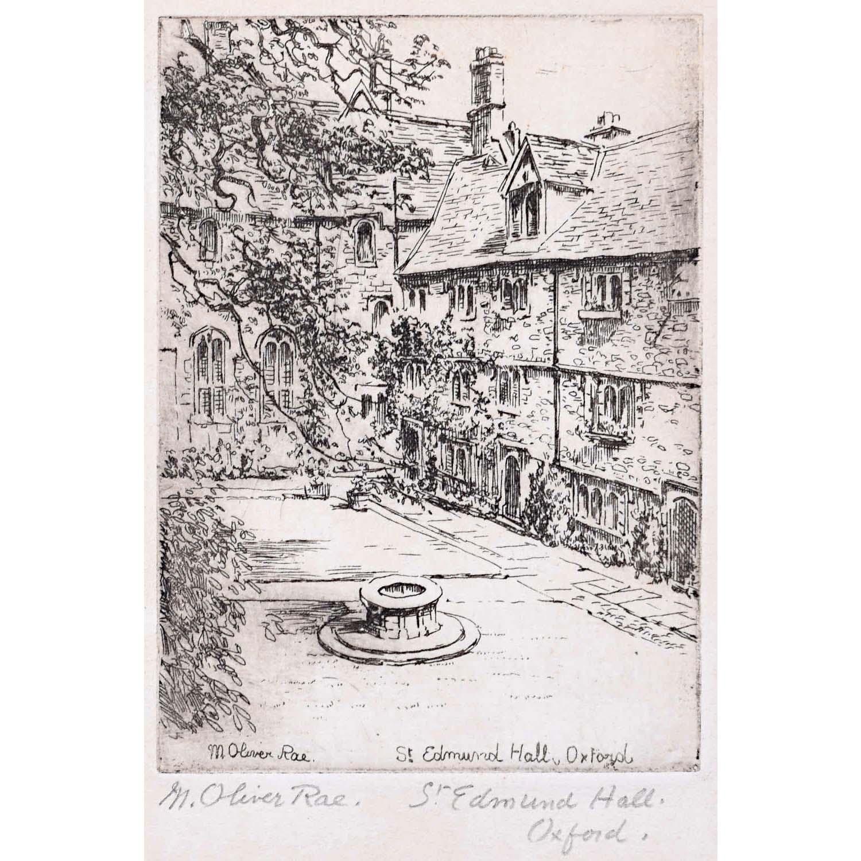 Mabel Oliver Rae St Edmund Hall Oxford etching c. 1920