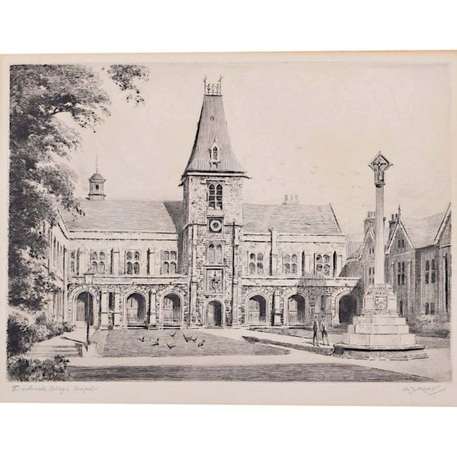 A J Meyer Dulwich College London c. 1920 Etching