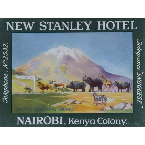Kenya Nairobi New Stanley Hotel Original Printed Luggage Label