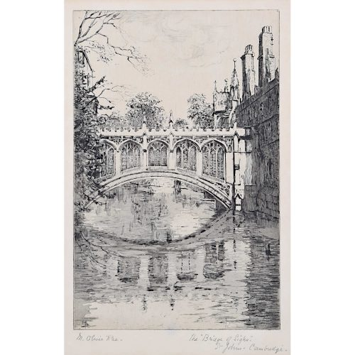 Mabel Oliver Rae Bridge of Sighs St John's College Cambridge c. 1920 Etching