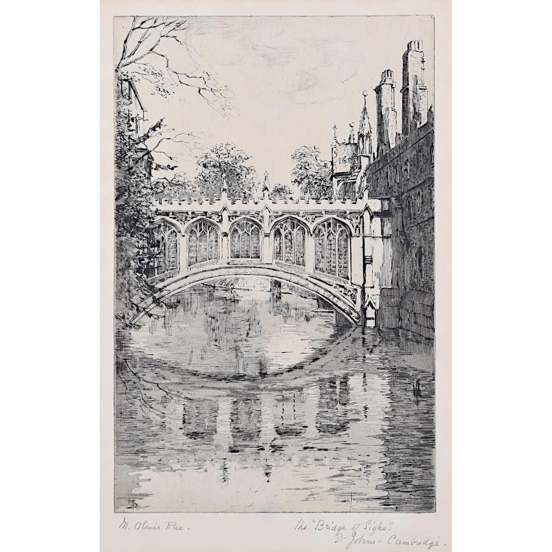 Mabel Oliver Rae Bridge of Sighs St John's College Cambridge c. 1920 Etching