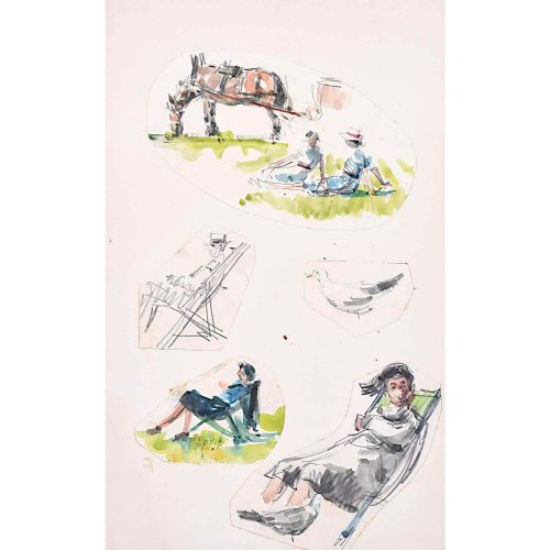 Peter Collins ARCA Elegant Figures in Deckchairs with Boaters
