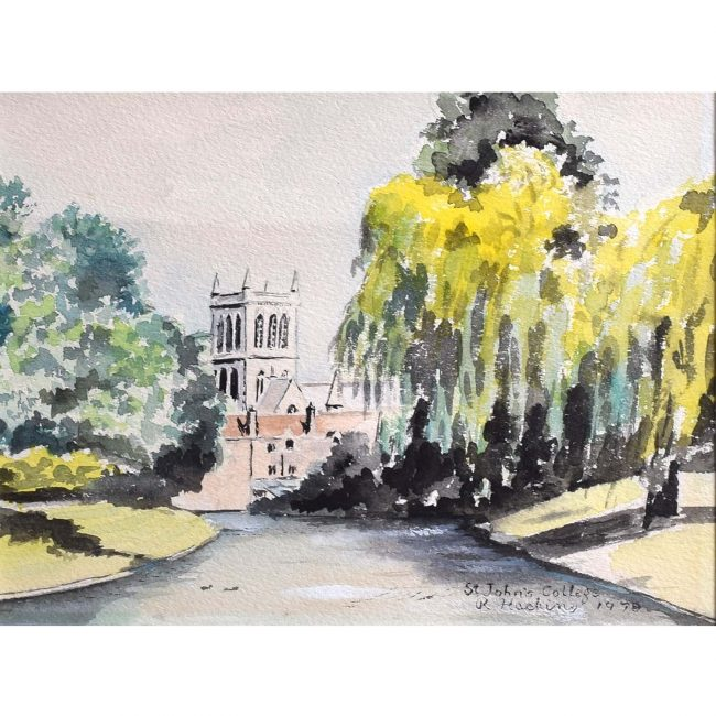 R Hacking St. John's College Cambridge 1978 Watercolour