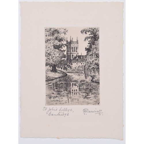 R Warwick St John's College Cambridge c. 1920 etching