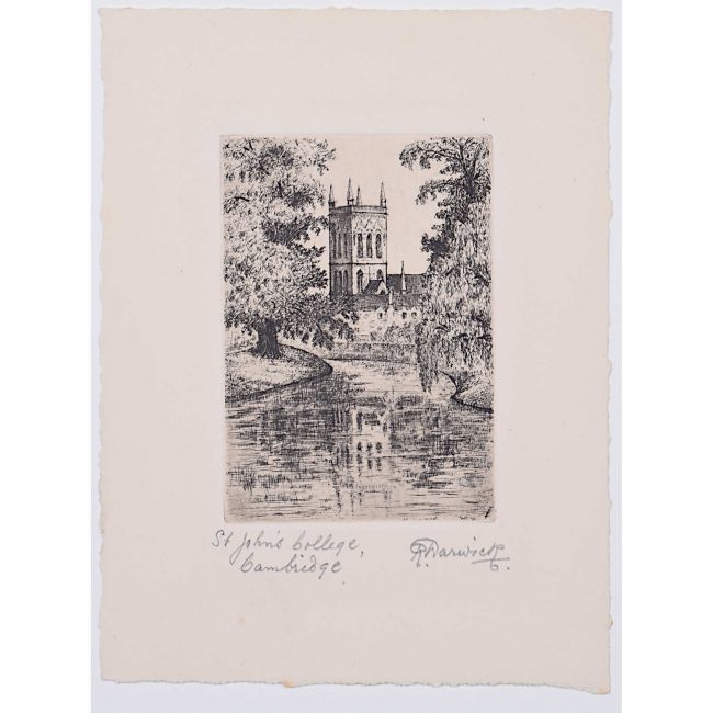 R Warwick St John's College Cambridge c. 1920 etching