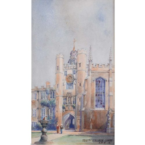 R.H.B Trinity College Cambridge 1915 Watercolour