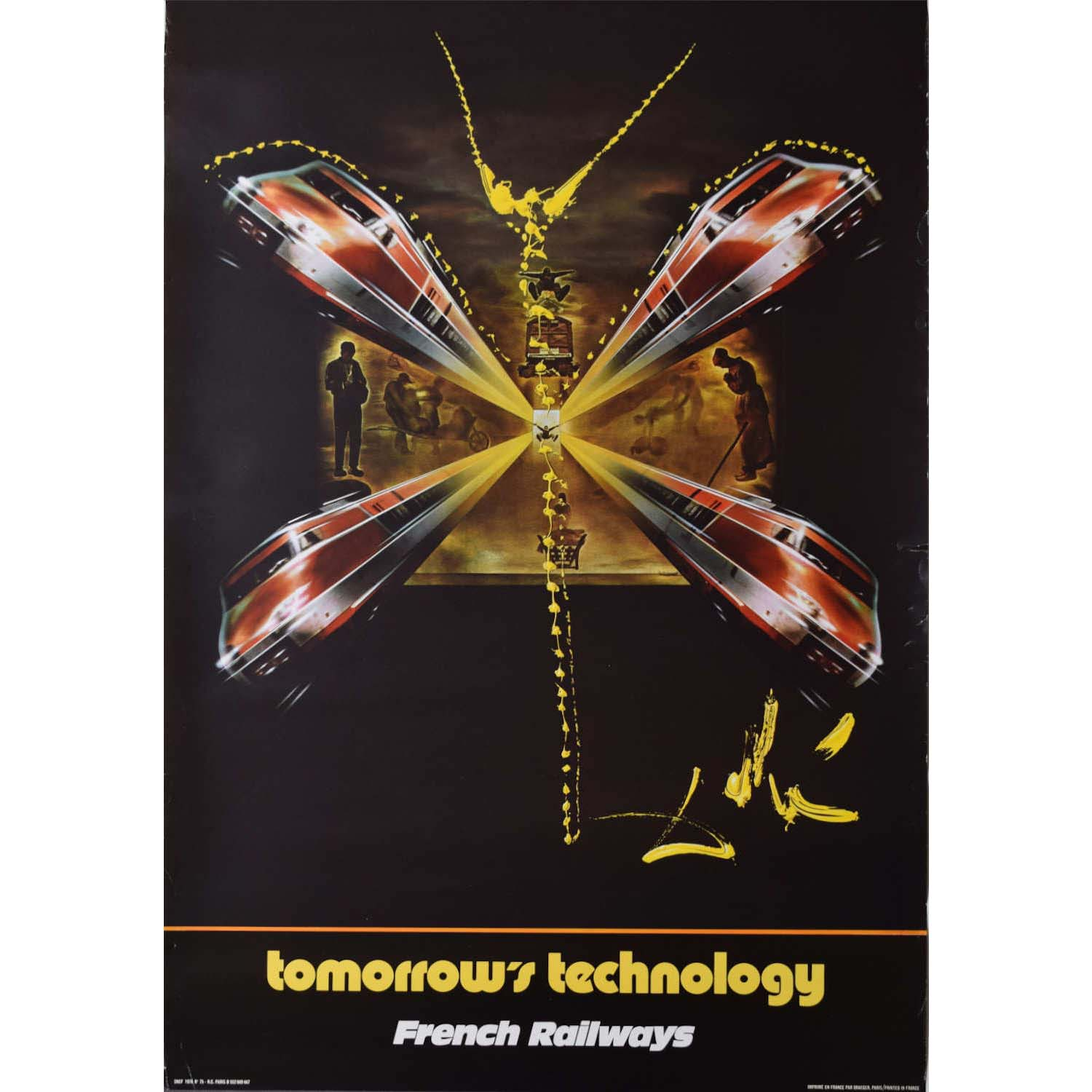 Salvador Dali 1976 SNCF Poster French Railways Tomorrow's Technology